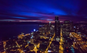seattle aerial photography, seattle photography, night photography, sony a7r