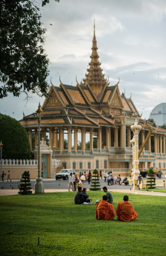 Monks in front of the Royal Palace in Phnom Penh