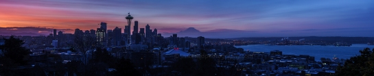 Seattle sunrise panorama from kerry park