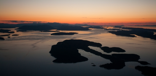Sunset aerial view of Stuart Island