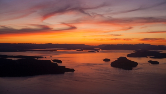 Sunset aerial view of Roche Harbor, Spieden and Stuart Islands