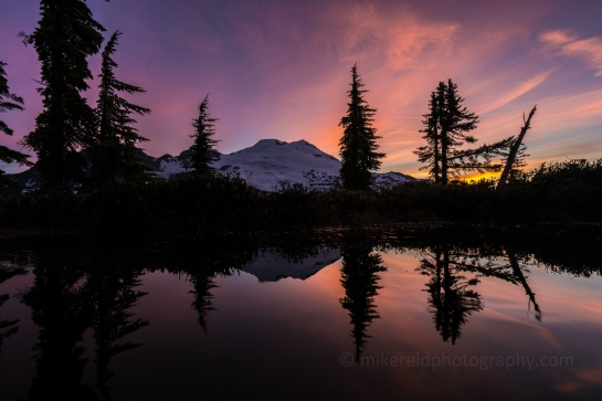 Mount Baker Sunrise Reflection Overnight Hike into Park Butte for Sunrise and Sunset Photography