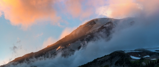 Rainier Lenticular Cloud and Wildflowers at Sunset - Zeiss 135mm panorama