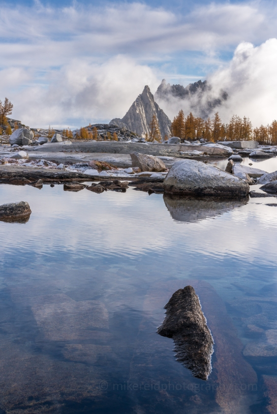 Prusik Peak and skies reflected. Enchantments Fall Colors Larches Photography and Hiking