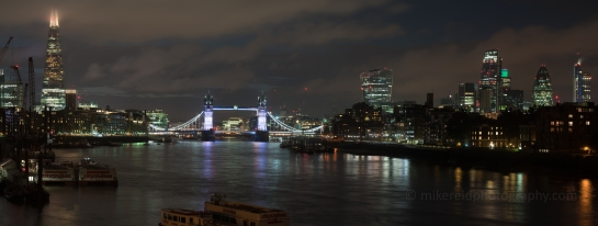 London along the Thames night view of the Tower Bridge