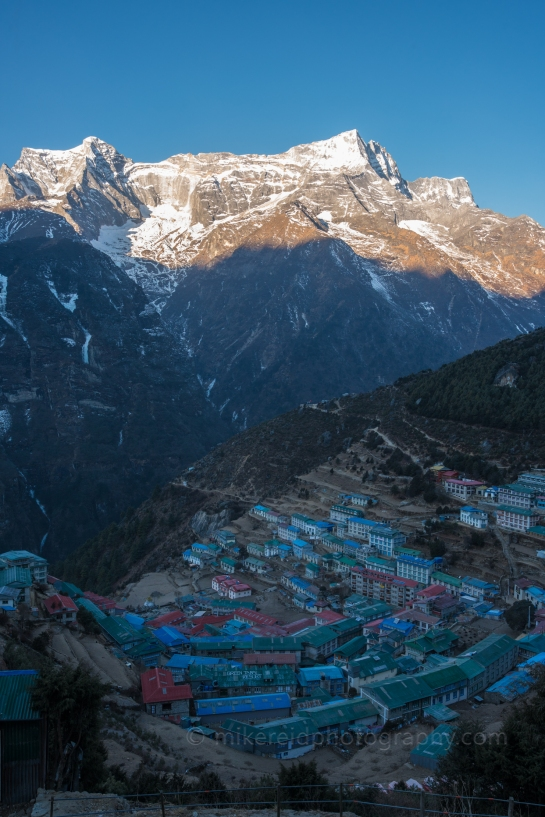 View of Namche and Kongde Peak in the Morning