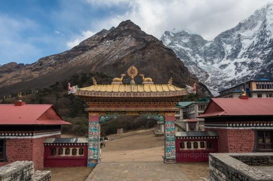 Gates of the Monastery at Tengboche with Kangtega Peak Beyond