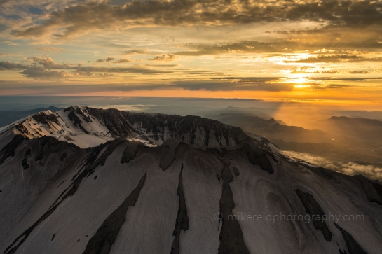 Sunset Light Warms up the St Helens Crater Aerial Photography