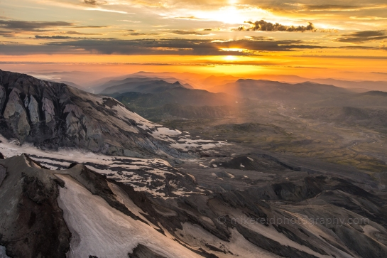 Mount St Helens Aerial Photography Sunset