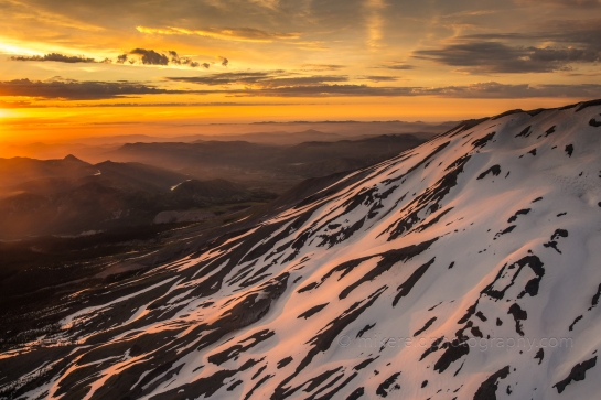 Golden Light on Mount St Helens from the Air