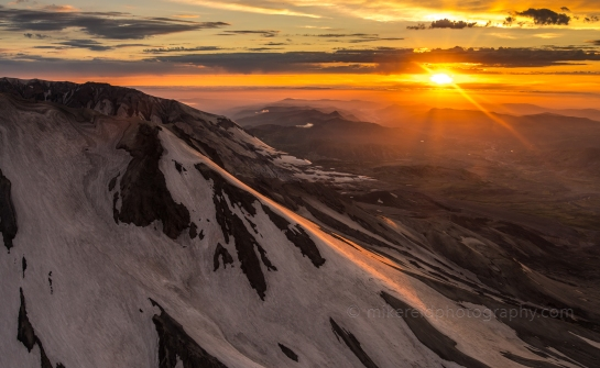 Sunstar Lights Up Mount St Helens at Sunset