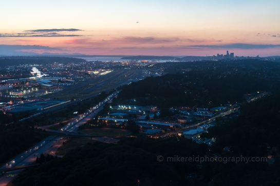 Approaching Boeing Field at Night Seattle Aerial night Photography
