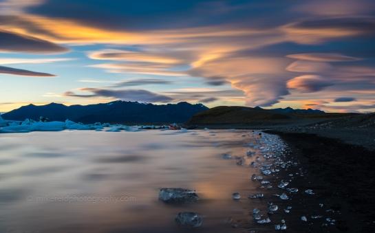 Jokulsarlon Ice Lagoon Lencticular Sunset