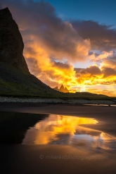 Brunnhorn and Vesturhorn sunrise on the beach in Stokksnes Iceland