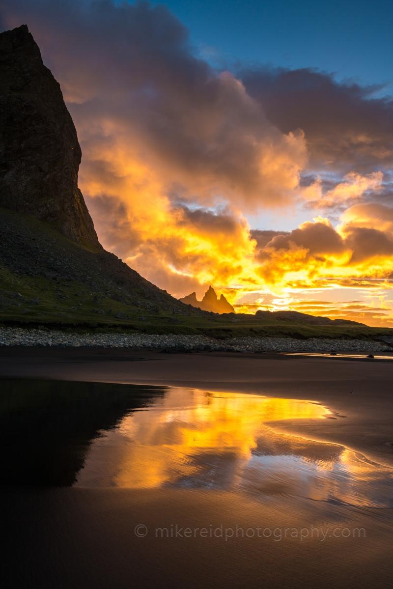 Brunnhorn and Vesturhorn sunrise on the beach in Stokksnes Iceland