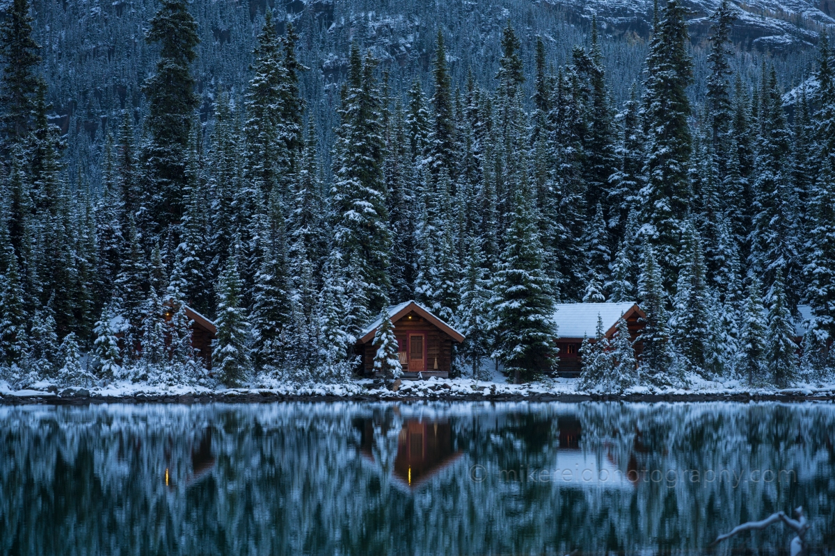 Winter Snow on Lake O'Hara Cottages at Dusk