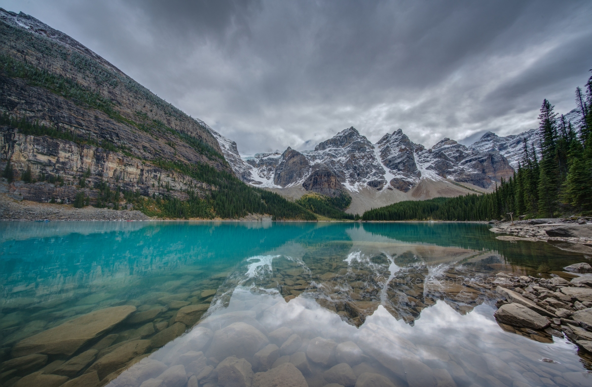 Colors Angles and Light of Lake Moraine - A View of the Ten Peaks