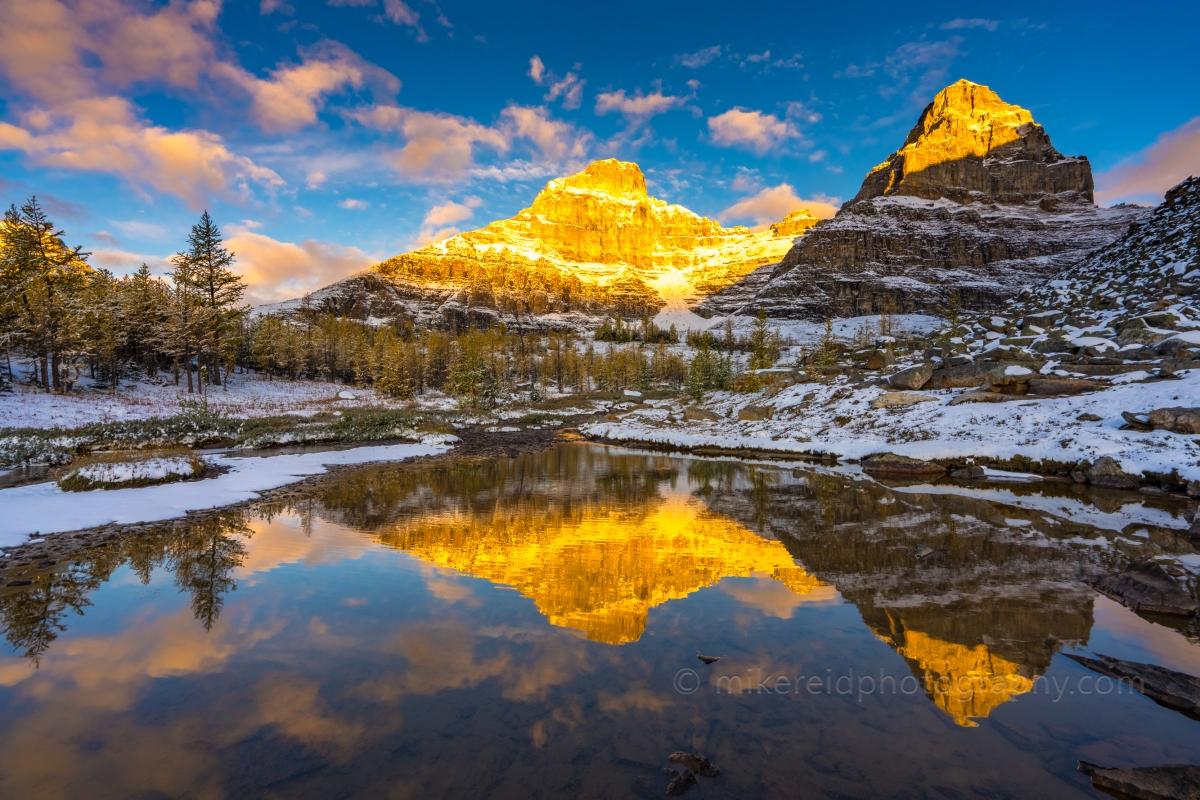 Golden Sunrise Light hits the Peaks around Larch Valley Banff