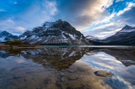Crowfoot Mountain Reflected in a Calm Bow Lake Towards Sunset Banff Alberta