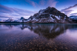 Crowfoot Mountain Reflected in a Calm Bow Lake Towards Dusk Banff Alberta Voigtlander 10mm