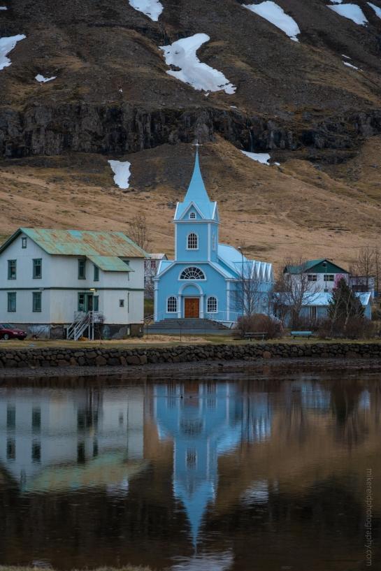 Iceland Seydisfjordur Blue Church