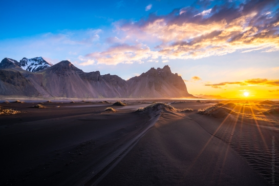 Iceland Stokksnes Black Sands Dunes Sunstar Sunrise