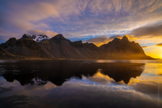 Iceland Stokksnes Sunrise Dramatic Tideflats Reflection