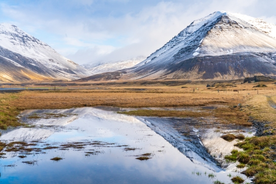 Iceland Ring Road Snow Capped Peaks Reflection