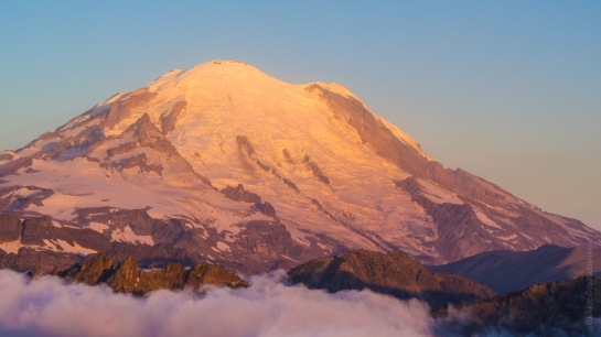 Drone Photography Rainier at Sunrise 90mm