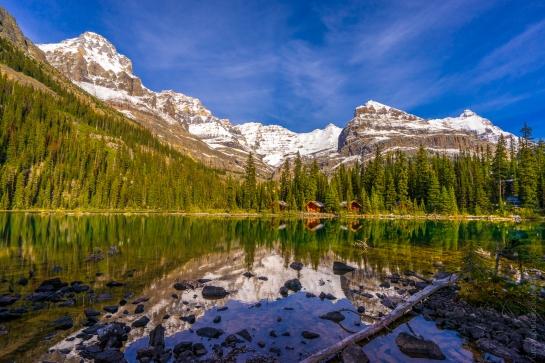 Lake O'Hara Lodge Cabins Reflection Just After Dawn