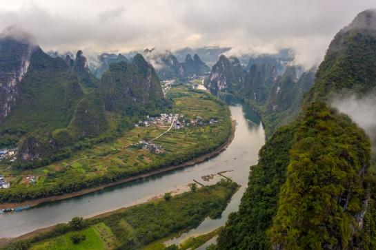 DJI Mavic Pro 2 Drone Photography Yangshuo China Xianggong Hill