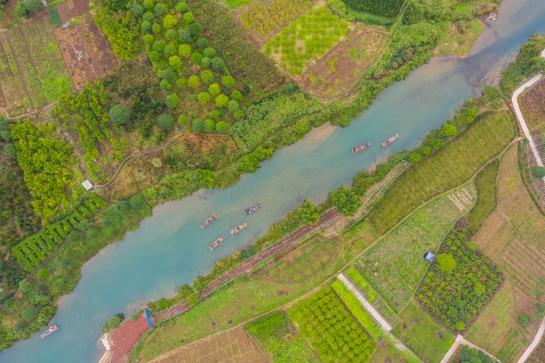 DJI Mavic Pro 2 Drone Photography Yangshuo China Rafts on the Yulong River