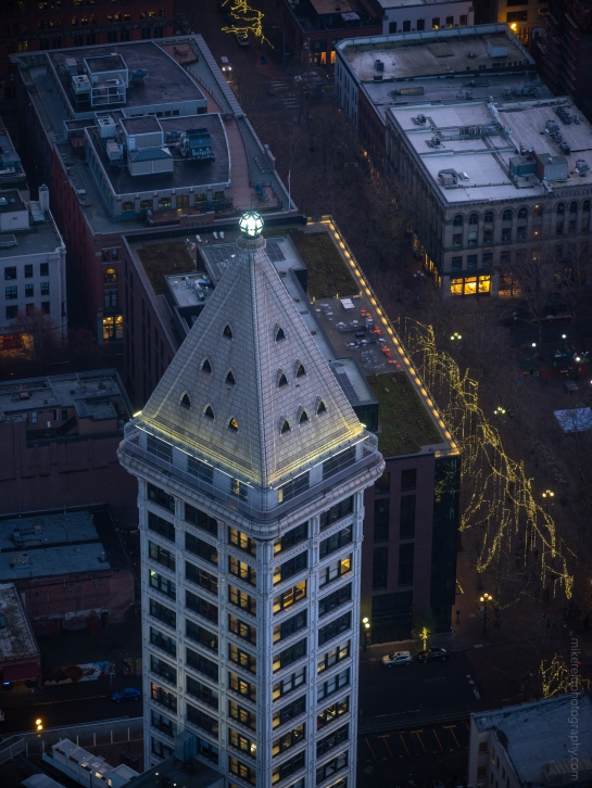 Smith Tower Dusk Fuji GFX50s and Canon 200mm f1.8 lens