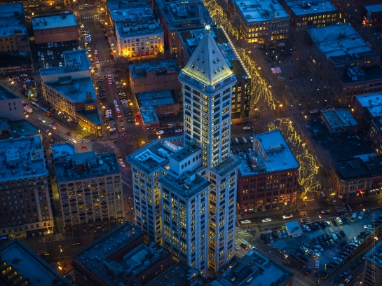 Smith Tower Blues Fuji GFX50s and Zeiss 85mm Otus lens