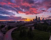 Seattle Sunset From Rizal Bridge Fuji GFX50s and GF23mm lens