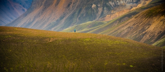 Lone Hiker Along the Suðurnámur mountain ridge, Icelandic Highlands.