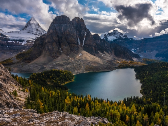 Mount Assiniboine and Sunburst Peak from the Nub