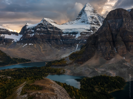 Mount Assiniboine and Sunburst Peak Beneath Dramatic Skies