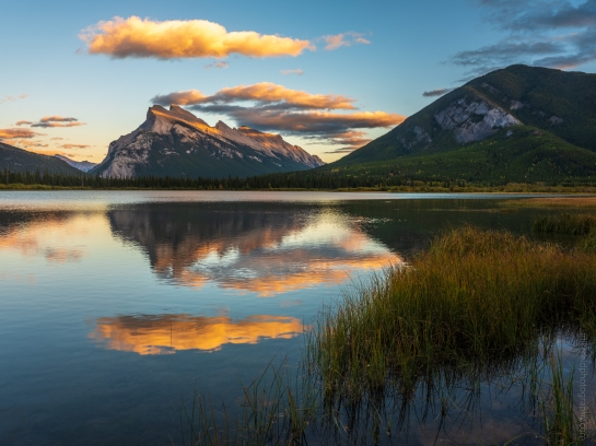 Mount Rundle Dusk Light in Vermillion Lakes