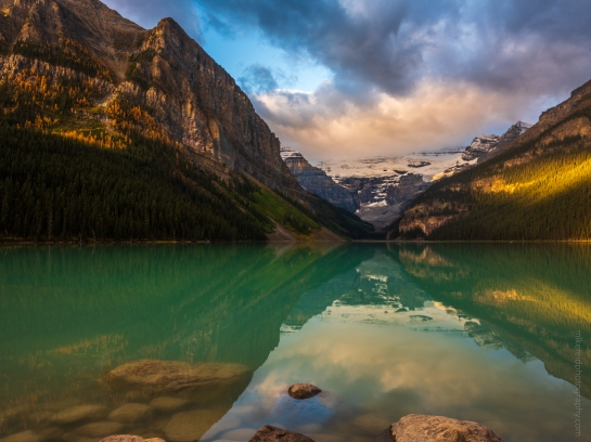 Golden Light on the Peaks Arou gfx50snd Lake Louise at Dawn