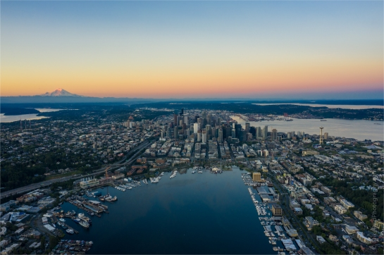 Over Seattle Aerial Photography Sunrise Over Downtown Mavic Pro 2