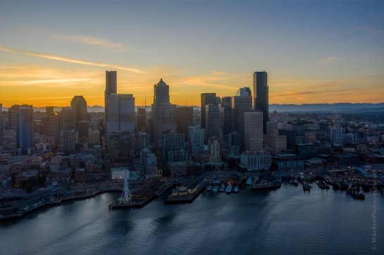 Over Seattle Aerial Photography Sunrise Over Downtown