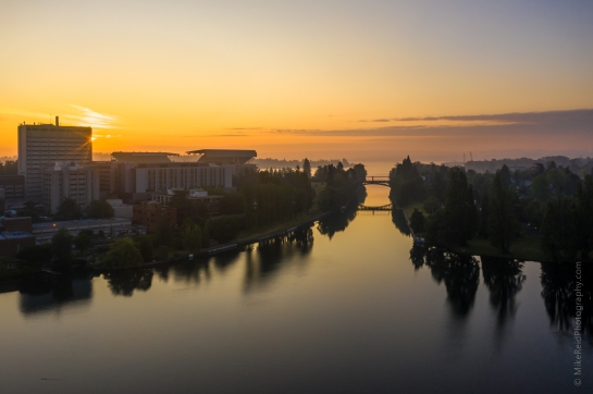 Over Seattle Aerial Photography Sunrise Over The Montlake Cut