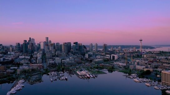 Over Seattle Aerial Photography Sunrise Over Lake Union