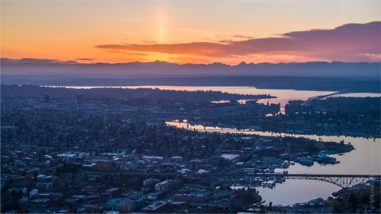 Over Seattle Aerial Photography Sunrise Sun Pillar Inspire 2 X5S